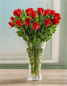 flowers: Red Rose  in a Crystal Vase!