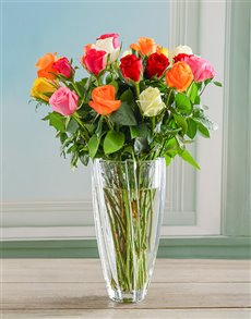 flowers: Mixed Roses in Infinity Crystal Vase!