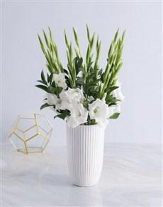 flowers: White Gladiolus in a White vase!