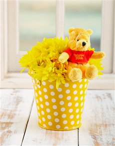 flowers: Yellow Poo Bear Flower Bucket!