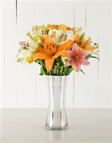 flowers: Mixed Asiflorum Lilies in Silver Vase!