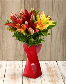 flowers: A Twist of Colour Lily Arrangement!