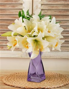 flowers: St Joseph Lilies in a Purple Vase!