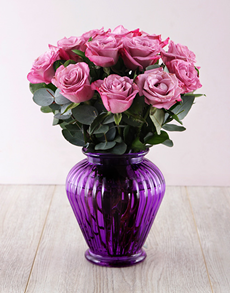 flowers: Lilac Roses in a Purple Lantern Vase!