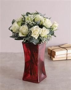 flowers: White Whispers Rose Vase!