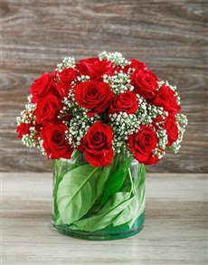 flowers: Red Rose Cylinder Vase!