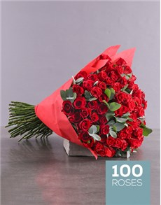 flowers: Eternity 100 Red Rose Bouquet!