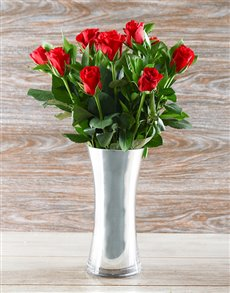flowers: Be Mine Red Rose Silver Arrangement!