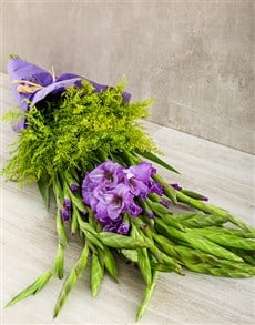 flowers: Purple Gladiolus and Goldenrod Bouquet!