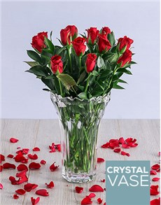 gifts: Elegant Red Roses in Crystal Vase!