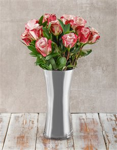 flowers: Pink and Silver Arrangement!