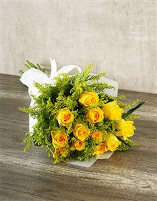 flowers: Sunshine Yellow Rose Bouquet!