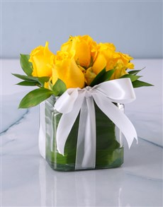 flowers: Yellow Roses in a Small Square Vase!