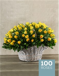 flowers: Bountiful Yellow Rose Basket!