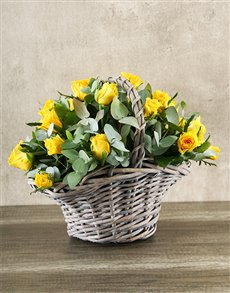 flowers: Yellow Rose Basket!
