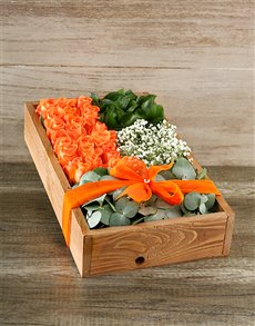 flowers: Orange Rose Crate Delux!
