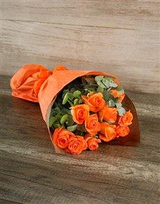 flowers: Radiant Orange Rose Bouquet!