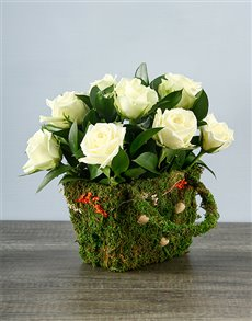 flowers: White Rose Moss Basket!