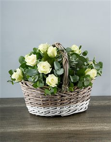 flowers: White Roses in White and Grey Basket!