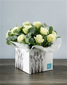 gifts: White Roses in Crafty Occasion Box!