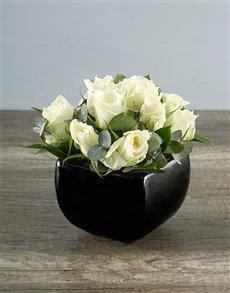 flowers: White Roses in Black Pottery Vase!