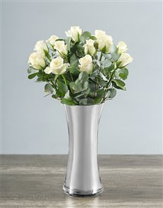 flowers: White Roses in Silver Vase!