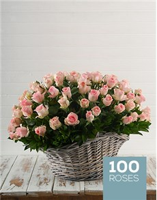 flowers: Basket of 100 Pink Roses!