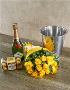 flowers: Yellow Roses Champagne and Chocolates!