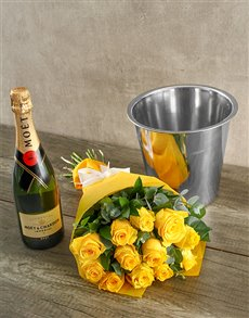 flowers: Moet & Chandon Yellow Rose Surprise!