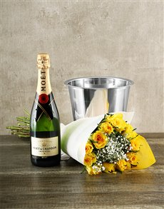 flowers: Yellow Roses with Moet & Chandon!