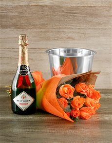 flowers: Orange Rose and Bubbly Gift!