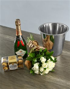 flowers: White Rose Celebration Hamper!