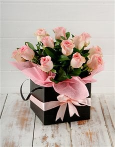 flowers: Pink Roses in a Black Box!