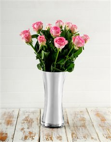 flowers: Pink Roses in Classy Vase!