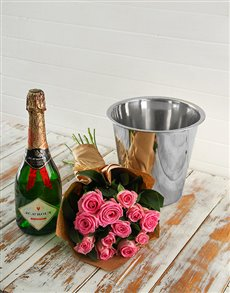 flowers: Pink Rose Bouquet,JC Le Roux and Ice Bucket!