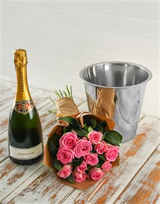 flowers: Pink Rose Bouquet, Progracz and Ice Bucket!
