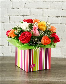 flowers: Rainbow Roses in Colourful Box!