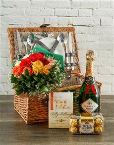 flowers: True Romantic Mixed Roses Picnic Hamper!