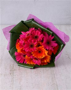 flowers: Ravishing Gerbera and Aspidistra Bouquet!