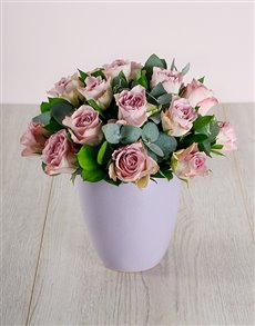 flowers: Lilac Roses in Ceramic Pot!