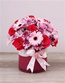 flowers: Baby Girl Pink Flowers In Cylinder Vase!