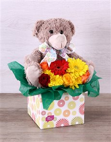 gifts: New Baby Flower & Teddy Box!