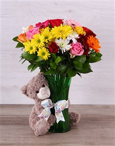 flowers: Bright Mixed Bloom and Teddy Arrangement!