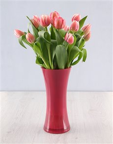flowers: Pink Tulips in a Pink Flair Vase!