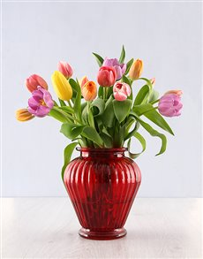 flowers: 15 Bright Tulips in a Red Urn Vase!
