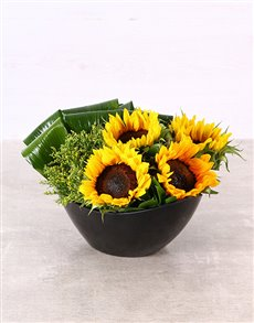 flowers: Sunflowers in a Black Boat Vase!