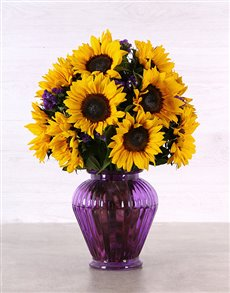 flowers: Sunflowers in a Purple Urn Vase!
