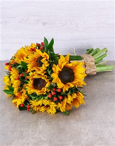 flowers: Sunflower and Hypericum Bouquet!