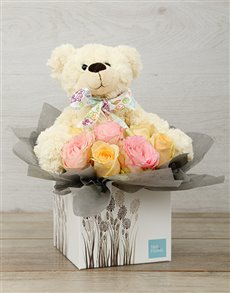 flowers: New Baby Pastel Rose & Teddy Box!