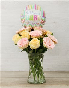 flowers: Pastel Rose Vase With Balloon!